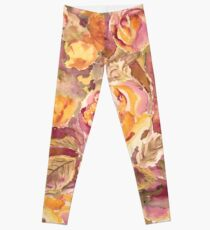 Watercolor Hand-Painted Red Yellow Autumn Fall Roses Leggings