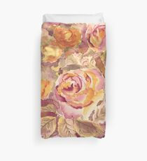 Watercolor Hand-Painted Red Yellow Autumn Fall Roses Duvet Cover