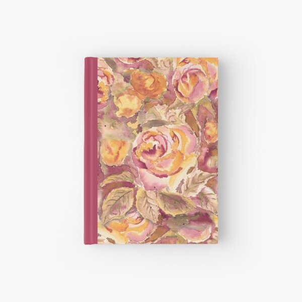 Watercolor Hand-Painted Red Yellow Autumn Fall Roses Hardcover Journal