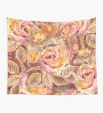 Watercolor Hand-Painted Red Yellow Autumn Fall Roses Wall Tapestry