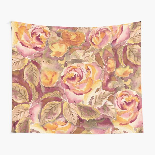 Watercolor Hand-Painted Red Yellow Autumn Fall Roses Tapestry