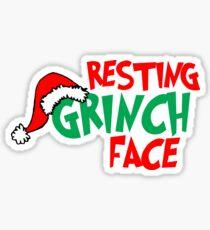 Resting Grinch Face, Christmas Design Sticker