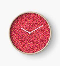 Orange Leopard Clock
