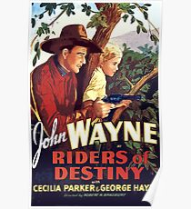 Riders of Destiny, western, vintage movie poster Poster