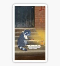raccoon dining out Sticker