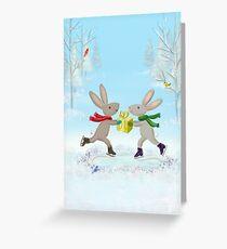 skating bunnies Greeting Card