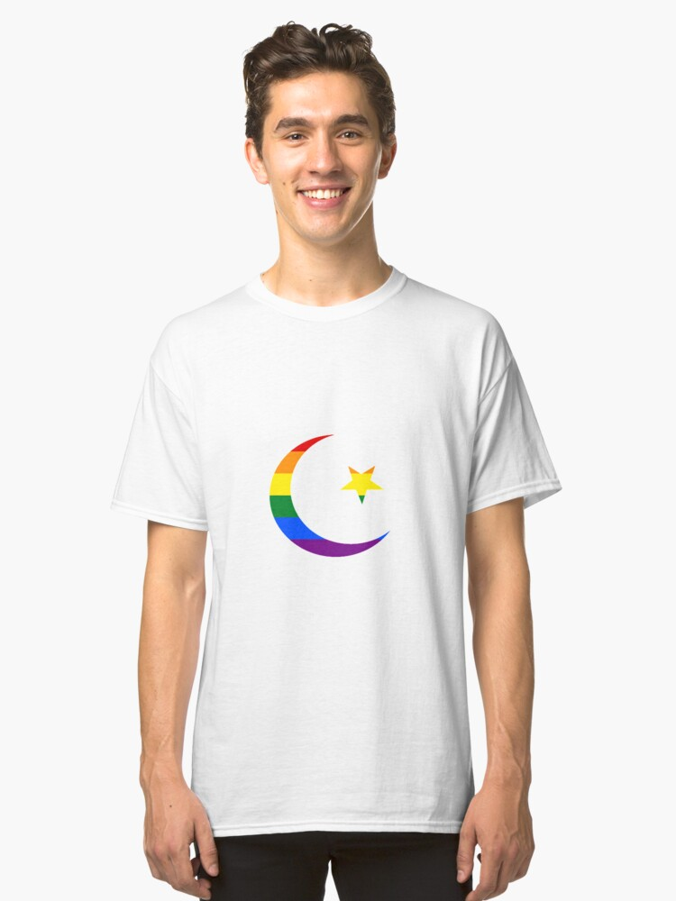 Gay Muslim Pride Star and Crescent Classic T-Shirt Front