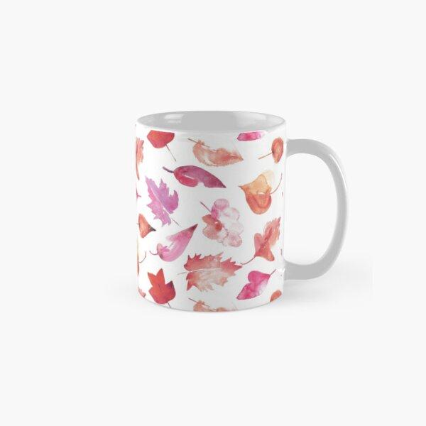 Autumn leaves in pink watercolors Classic Mug