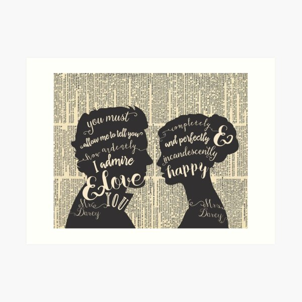 Pride and Prejudice Quote Art, Jane Austen Typography Home Decor, Book Lovers Gift Art Print