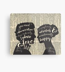Pride and Prejudice Quote Art, Jane Austen Typography Home Decor, Book Lovers Gift Metal Print