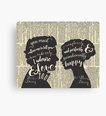 Pride and Prejudice Quote Art, Jane Austen Typography Home Decor, Book Lovers Gift Canvas Print