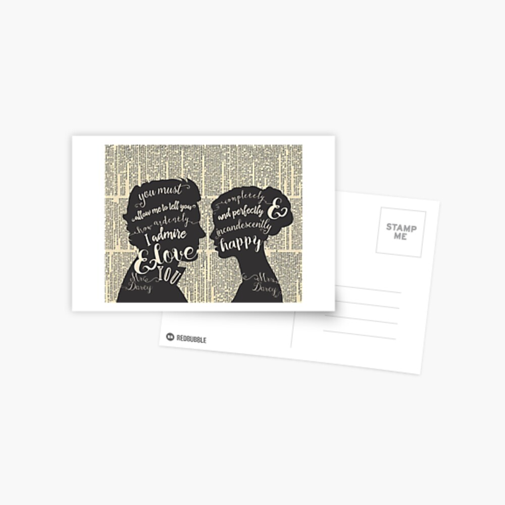 Pride and Prejudice Quote Art, Jane Austen Typography Home Decor, Book Lovers Gift Postcard