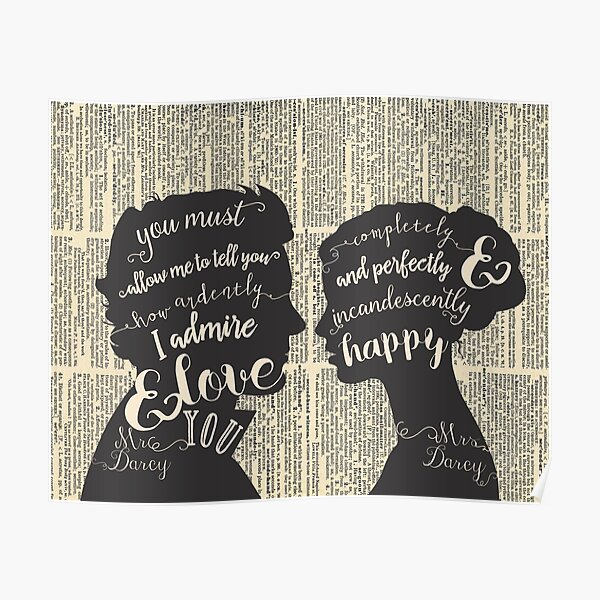 Pride and Prejudice Quote Art, Jane Austen Typography Home Decor, Book Lovers Gift Poster