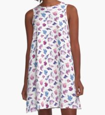 Leaves in lilac watercolors A-Line Dress