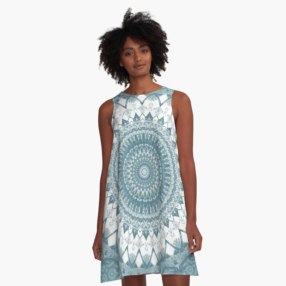 Boho Blue Mandala A-Line Dress Front