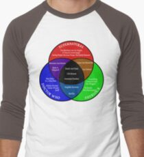 SuperWhoLock Venn Diagram Men's Baseball ¾ T-Shirt