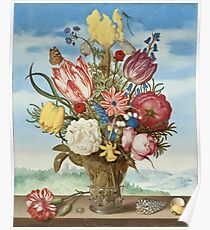 Ambrosius Bosschaert - Bouquet of Flowers on a Ledge Poster