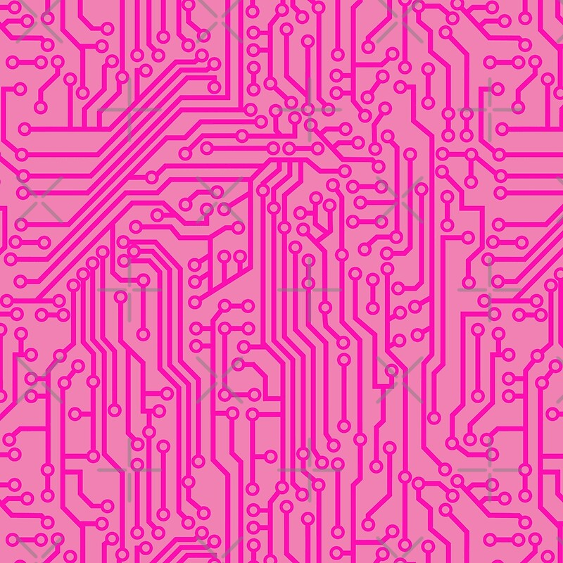Geeky Pink Circuit Board Pattern\