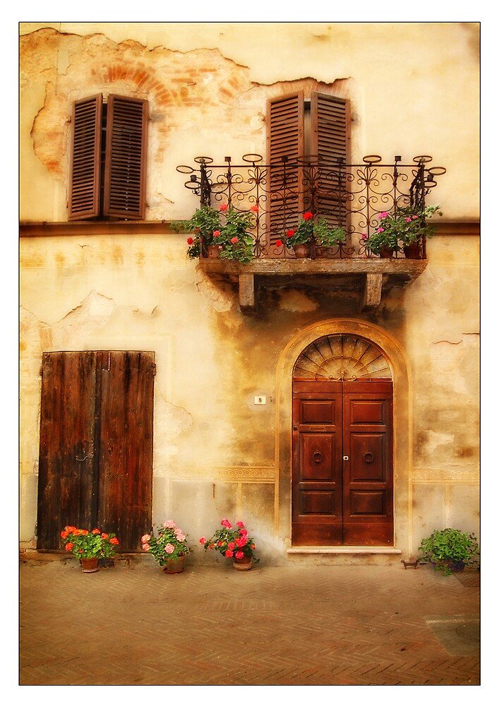 Tuscan door and balcony by jimfrombangor
