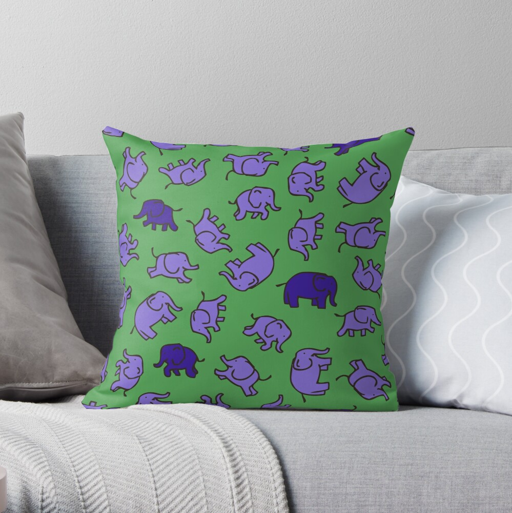 Elephants - Lilac and Blue on Green - cute, fun pattern by Cecca Designs Throw Pillow