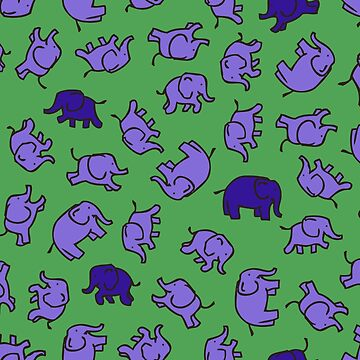 Elephants - Lilac and Blue on Green - cute, fun pattern by Cecca Designs by Cecca-Designs