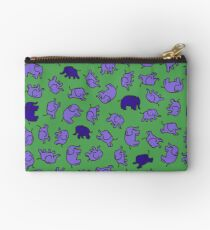 Elephants - Lilac and Blue on Green - cute, fun pattern by Cecca Designs Studio Pouch