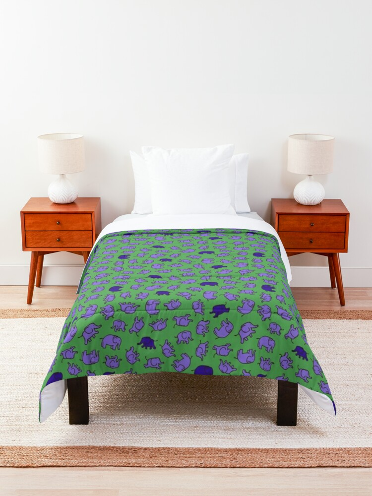 Alternate view of Elephants - Lilac and Blue on Green - cute, fun pattern by Cecca Designs Comforter