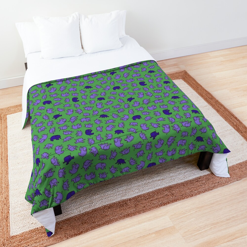 Elephants - Lilac and Blue on Green - cute, fun pattern by Cecca Designs Comforter