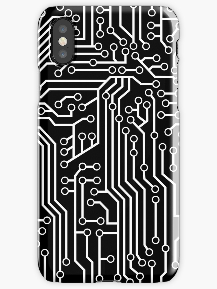 Modern Black and White Cybernetic Circuit Board Pattern\