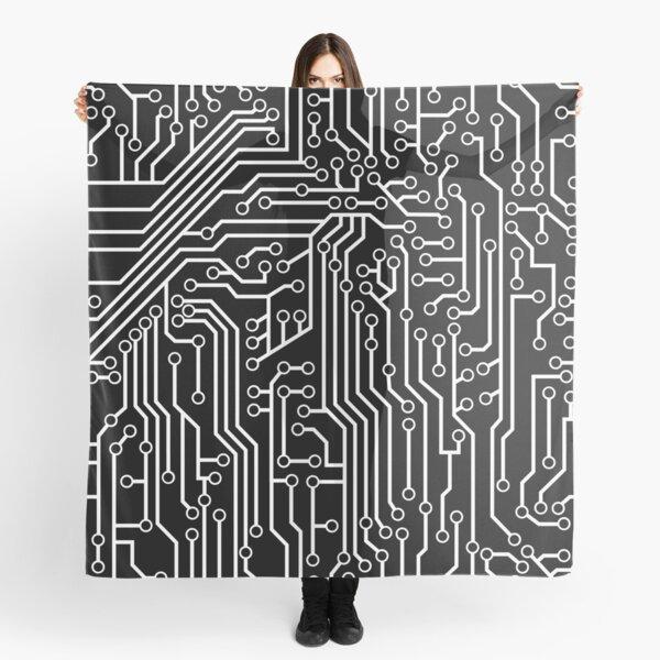 Modern Black and White Cybernetic Circuit Board Pattern Scarf
