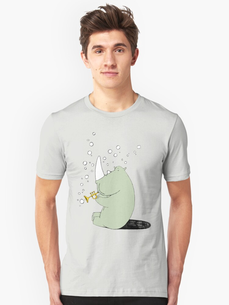 Rhino Blowing Bubbles Unisex T-Shirt Front