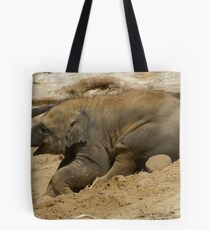 Baby elephant having fun Tote Bag