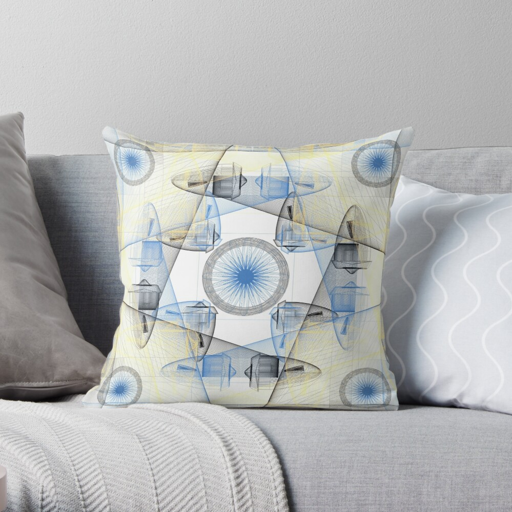 Jet Engines and Koi Fish Throw Pillow