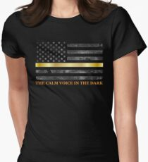 Dispatcher Gifts - Thin Gold Line - Thin Yellow Line - 911 Emergency Dispatchers Women's Fitted T-Shirt