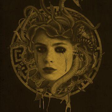 Golden Medusa Greek Mythology Illustration by printisdead