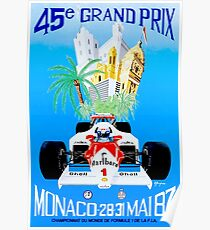 MONACO : Vintage 1987 Grand Prix Auto Racing Advertising Print Poster