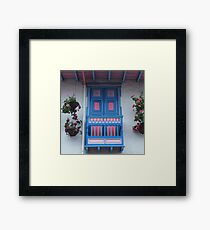 Blue  and Pink Balcony in Salento, Colombia Framed Print