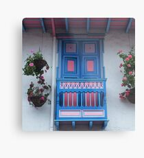 Blue  and Pink Balcony in Salento, Colombia Metal Print