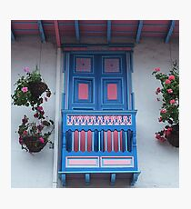 Blue  and Pink Balcony in Salento, Colombia Photographic Print