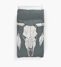 Decorated Bull Skull Mandala Pattern Duvet Cover