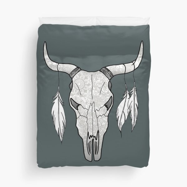 Floral Bull Skull with Feathers Duvet Cover