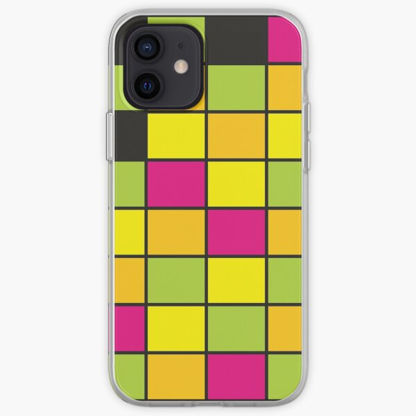 Bright Neon Colored Squares Pattern iPhone Soft Case