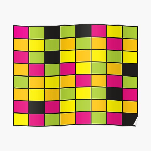 Bright Neon Colored Squares Pattern Poster