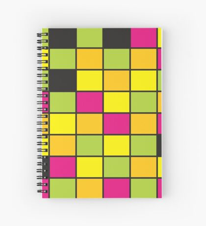 Brightly Neon Colored Squares Pattern Spiral Notebook