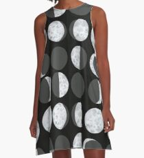 Moon Phases Chart - Dark A-Line Dress