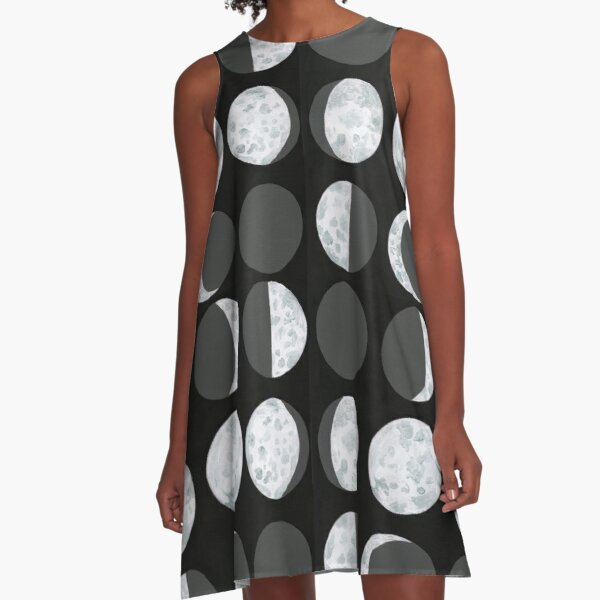 Moon Phases Chart - Dark A-Line Dress