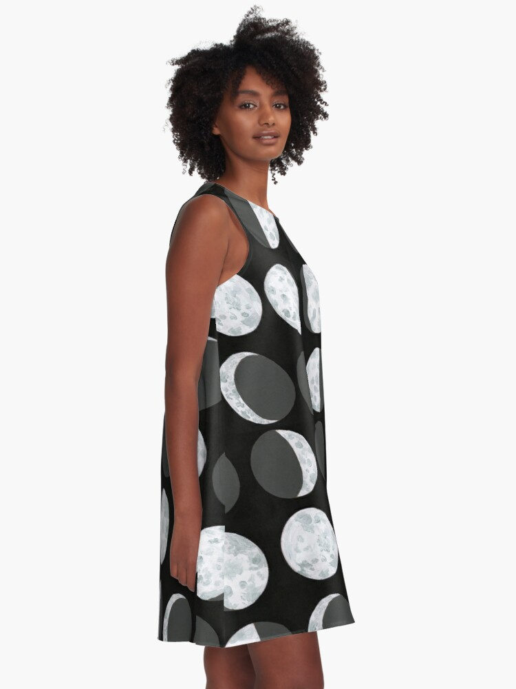 Alternate view of Moon Phases Chart - Dark A-Line Dress