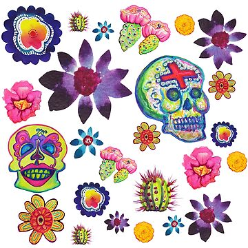 Sugar Skulls and Flores El Dia de los Muertos Hand Drawn Watercolor Design by vivacandita