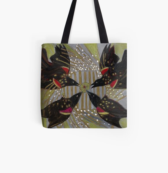 Four Calling Birds All Over Print Tote Bag