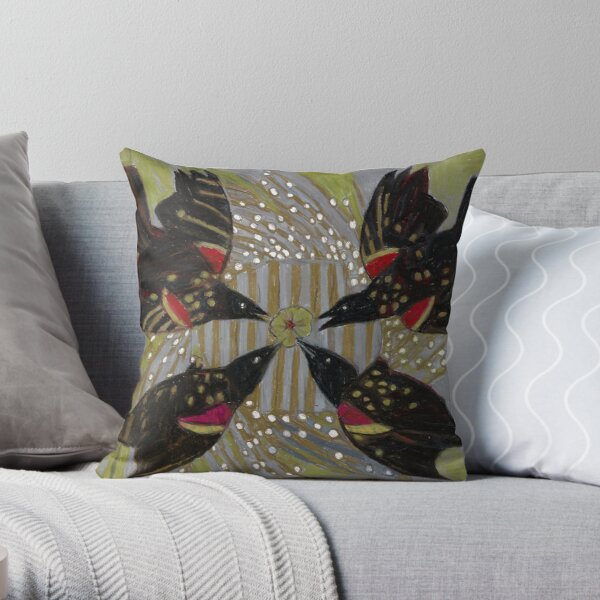 Four Calling Birds Throw Pillow